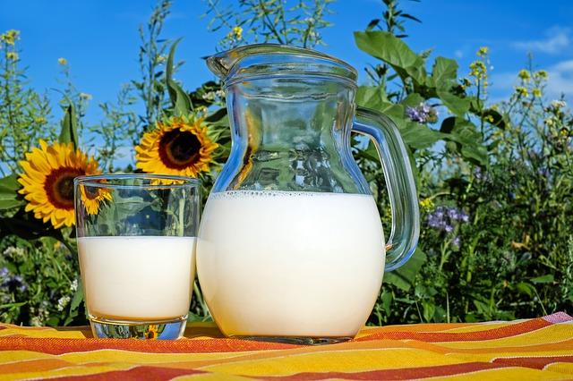džbán a sklenice mléka