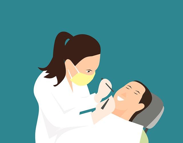 ilustrace zubařky a pacienta